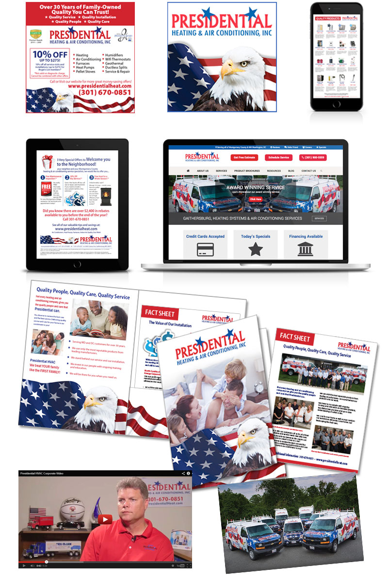 Collage of different sales collateral