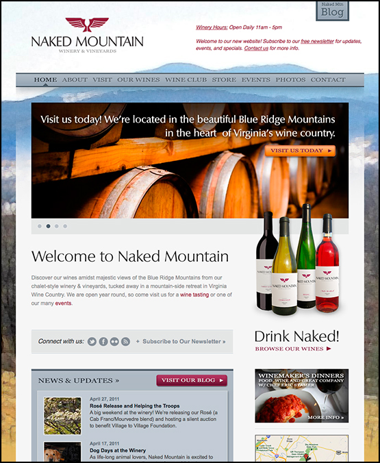Naked Mountain Winery Website