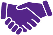 Purple hands shaking.